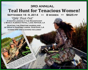 "3rd Annual Louisiana Teal Hunt for Girls - ""Teal Hunt for Tenacious Women"""