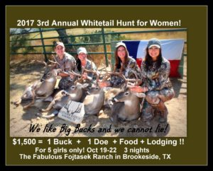 2017 3rd Annual Texas Whitetail Hunt for Women in the Hill Country! @ Hunting | Winchell | Texas | United States